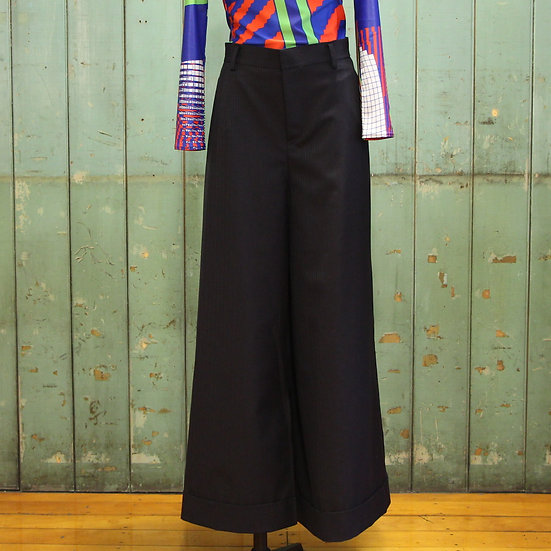 Junya Watanabe Wide Leg Cuff Pant Navy/Beige Stripe
