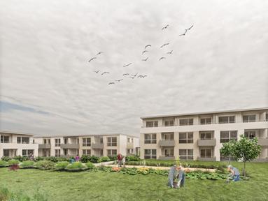 Neubau von 44 barrierefreien Wohnungen mit Betreuungsstützpunkt in Bad Oeynhausen.