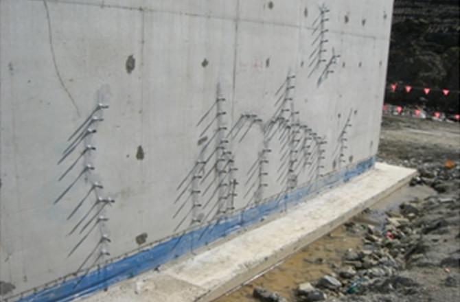 Example of concrete crack injection