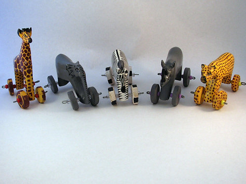 Set of 5 Wooden Animal Toys