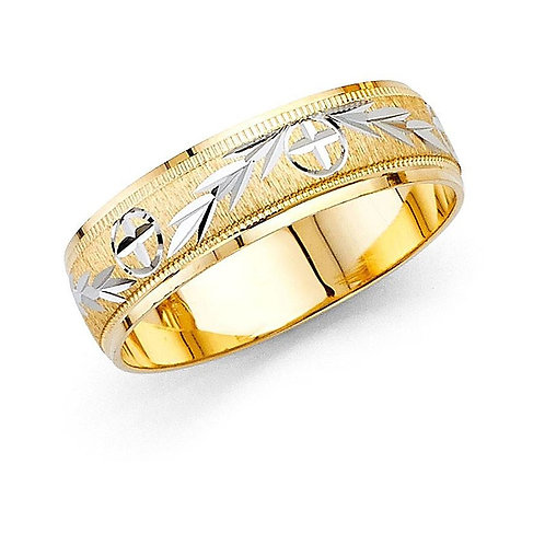 14k Gold Ladies 6-mm Milligrain Cross and Leaf Design Wedding Band