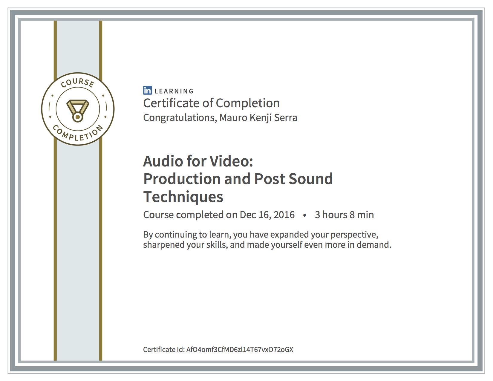 Audio For Video Production and Post