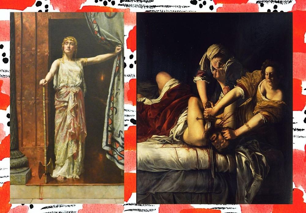 A la izquierda Clitemnestra representada por John Coliier y a la derecha la obra 'Judit decapitando a Holofernes' de Artemisia Gentileschi