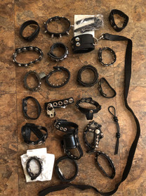 CBT leather leash cock ring collection