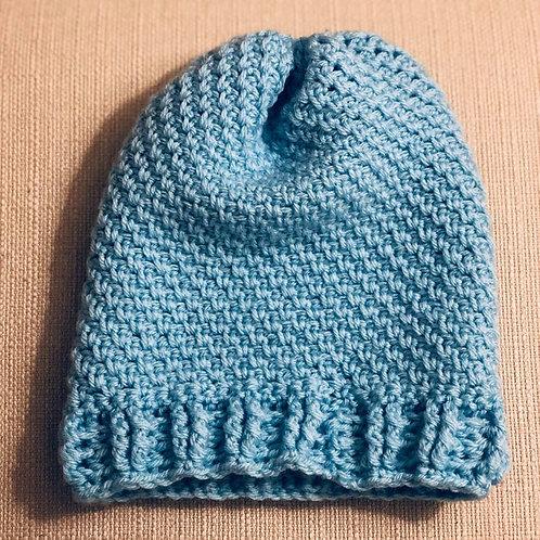 Hand Crochet Beanie Hat Blue