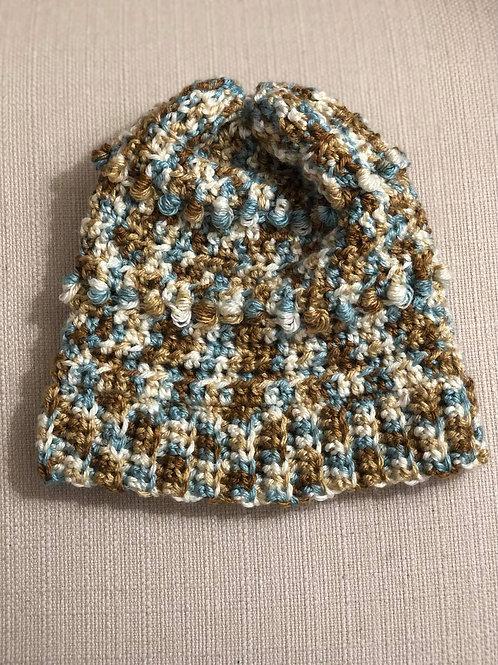 Hand Crochet Beanie Hat Multi Color