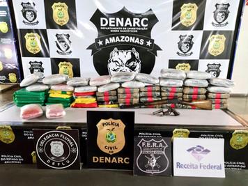 PC apreende 80 quilos de drogas em embarcações, nos municípios de Anori e Manacapuru