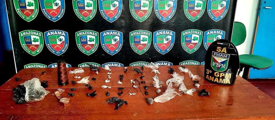 PM prendeu dois homens com droga no município de Anamã