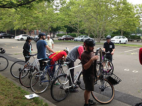 Students getting ready to ride bikes