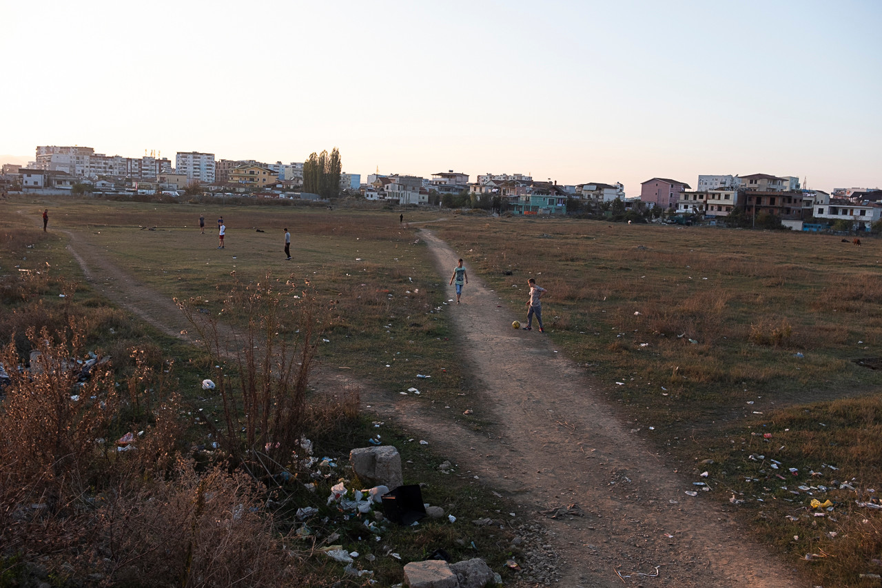 Playing football nearby the former Tirana's Train Station. Albania has no railways for public transport.