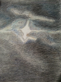 Graphite and colored pencil cloud like night sky with a bird like figure in the sky