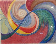 Abstract swirling colorsin a spiral shape and contrasting colors