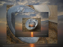 Sunset Journey: gathering of seashell and ocean sunset images