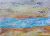 Watercolor crayon on paper drawing of the sunset at the beach