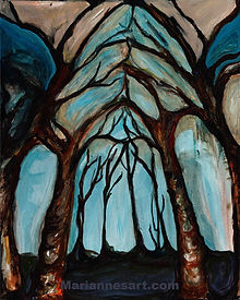Painting of trees forming a natural cathedral shape, earth tones