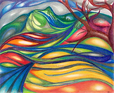 Swirling colored pencil drawing of an abstract female head and shoulders emerging out of a landscape