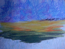 Abstract colored pencil and watercolor horizon with silohettes of wild horses running