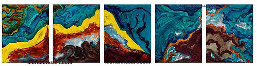 Abstract interpretation of waves crashing to shore, bright colors 5 panels to the piece
