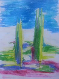 Abstract oil pastel drawing with two pillars of green against a skyline of blue
