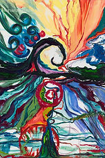 Swirling Acrylic painting with bright colors spiral designs with a landscape feel