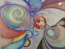 Abstract colors in flowing layered circular shapes