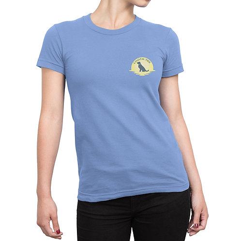 Women's T-Shirt – Sunset Graphic – Light Blue