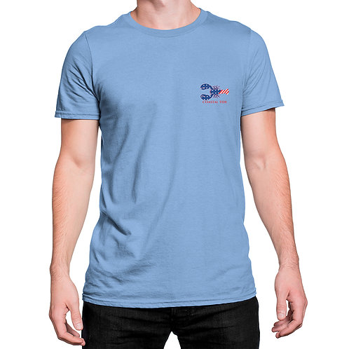 T-Shirt – American Flag/Lobster Print – Light Blue