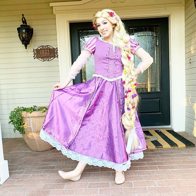 Princess Rapunzel posing for a picture