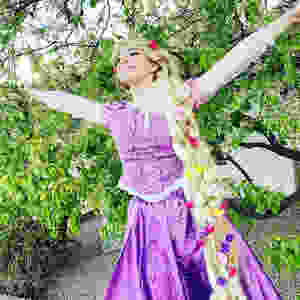 Rapunzel with arms open wide