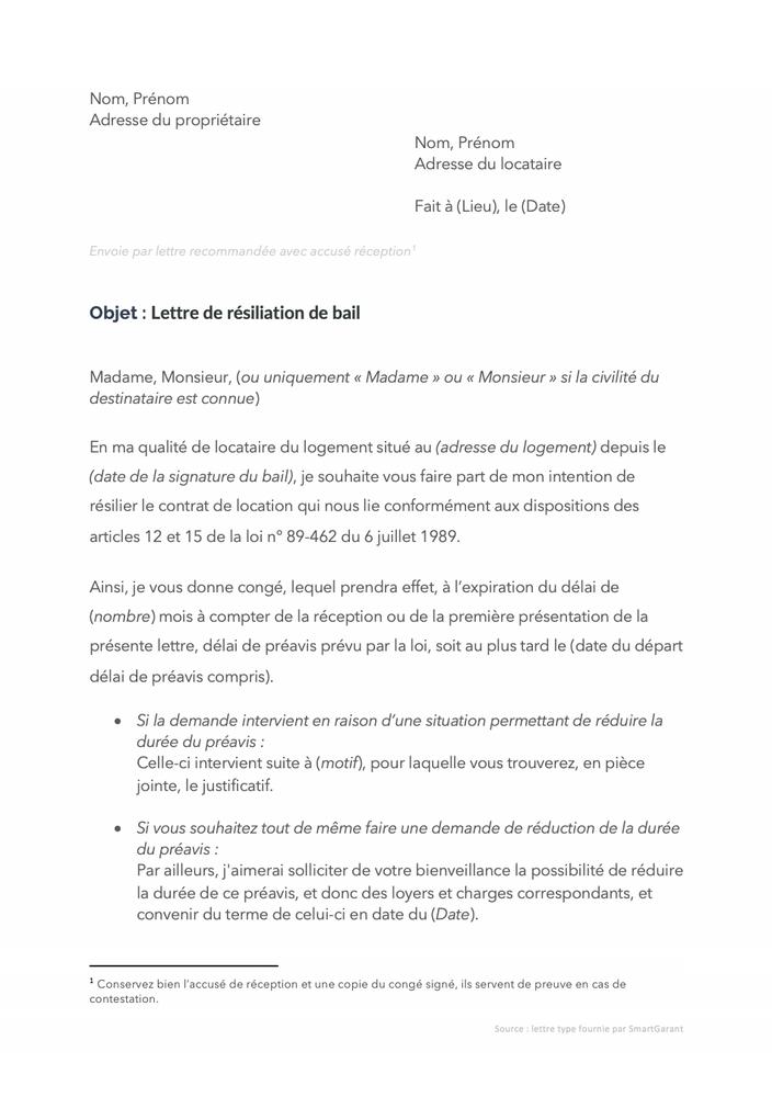 Modele De Lettre De Resiliation De Bail