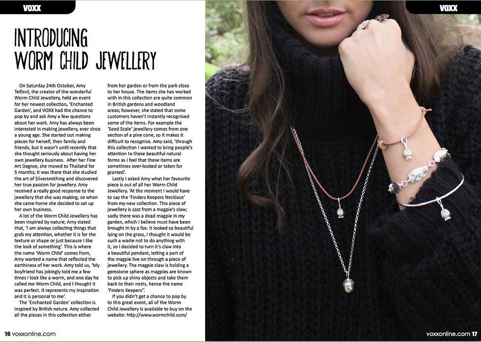 Magazine Article, Hand made jewellery, designer interview
