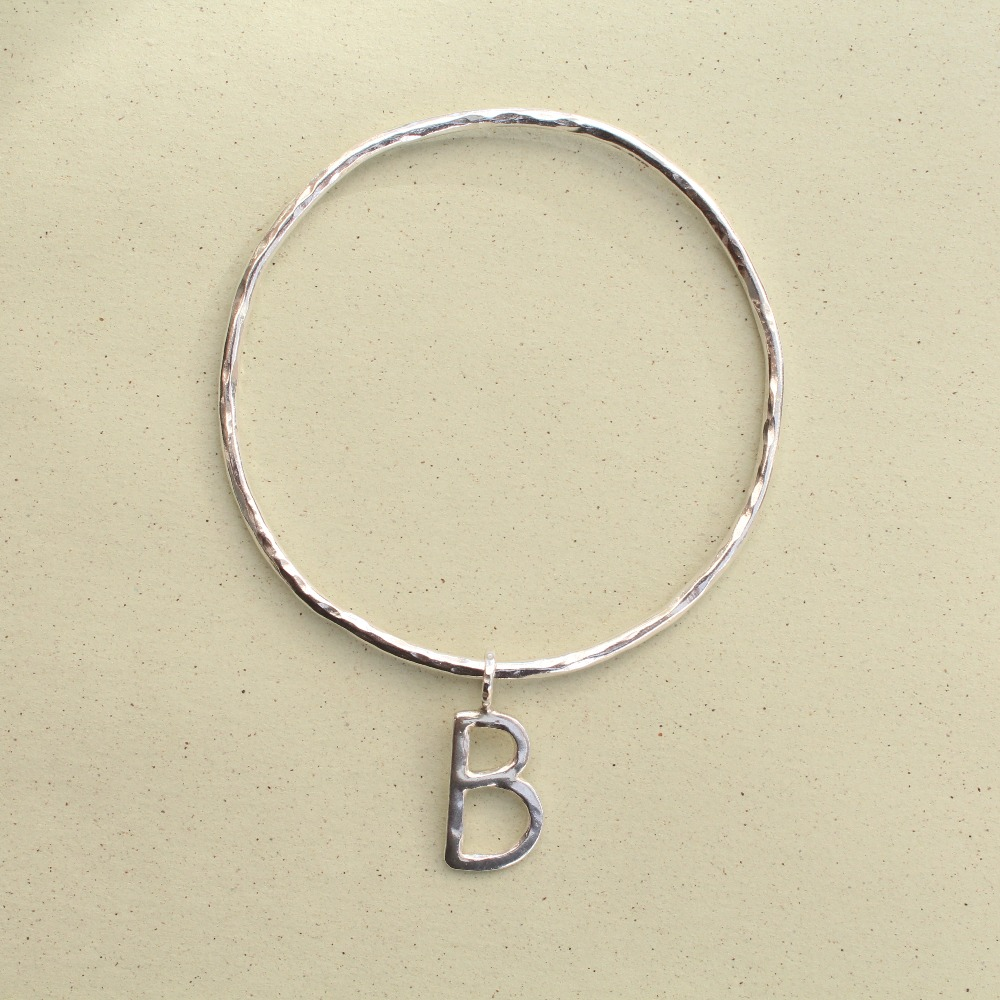 B Charm on a Hammered Bangle