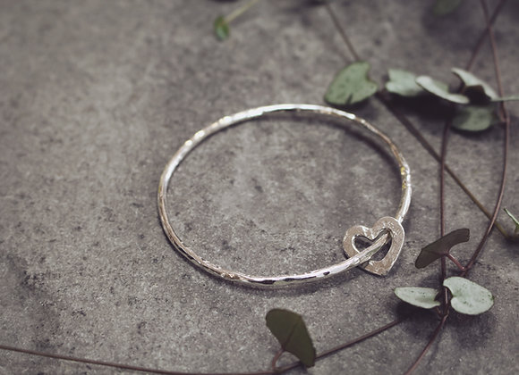 Open Heart Hammered Bangle