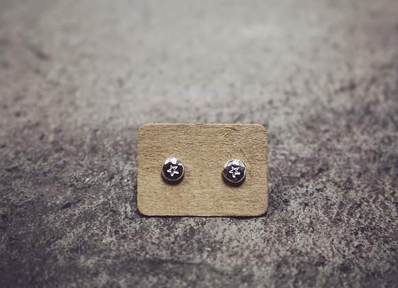 Tiny Hammered Pebble Stud Earring (Star)