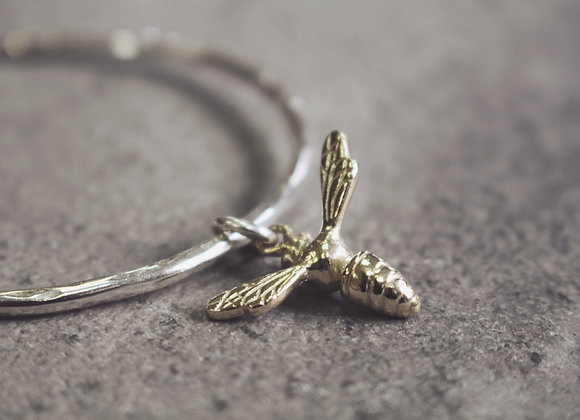9ct Gold Honey Bee on Silver Bangle