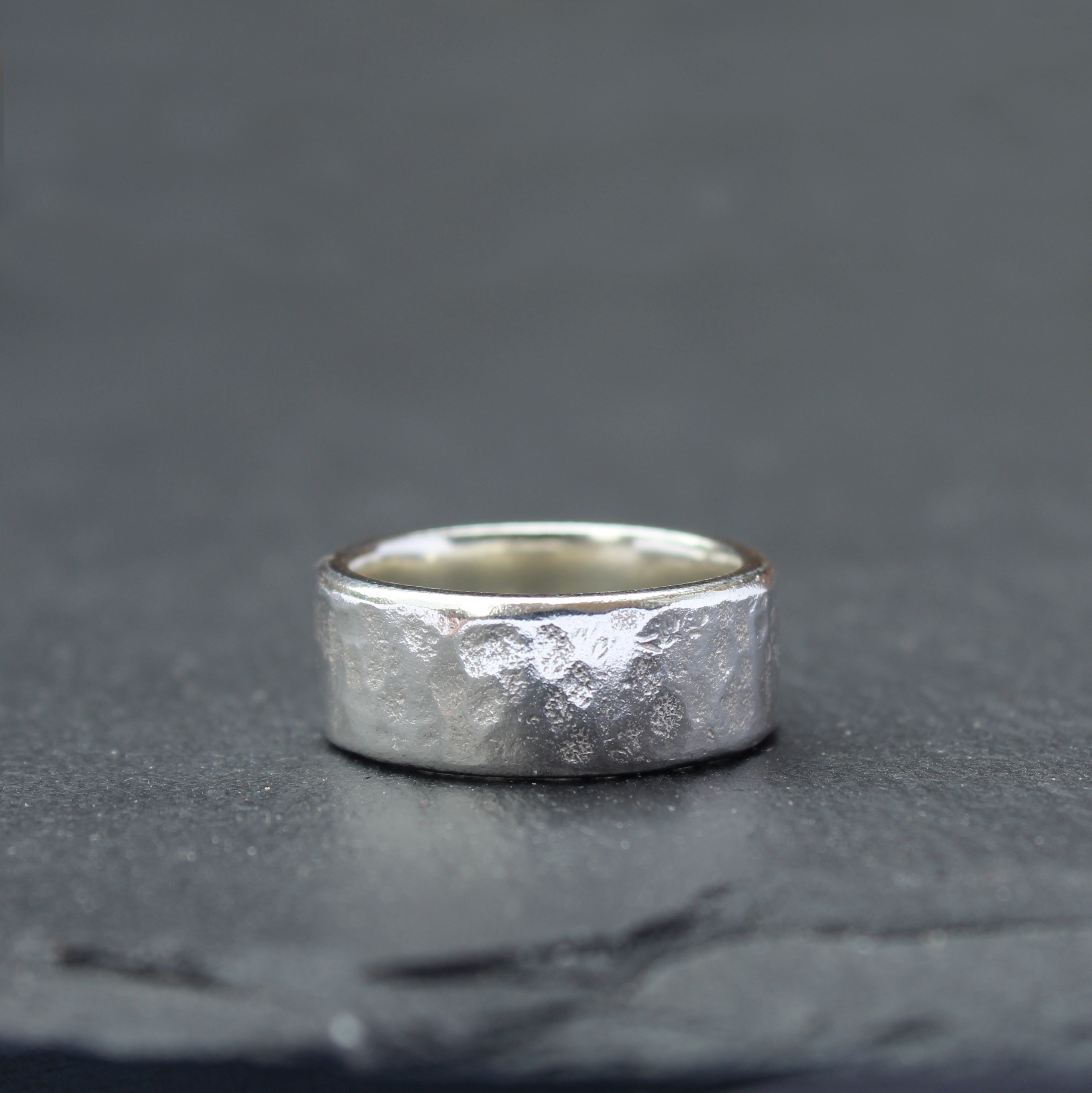 Chunky Hammered Wedding Ring
