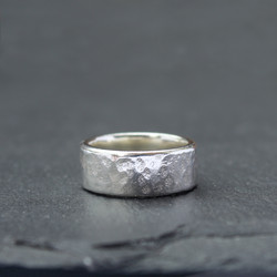 Chunky Hammered Wedding Ring