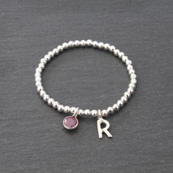 Ruby and R Charm Beaded Bracelet