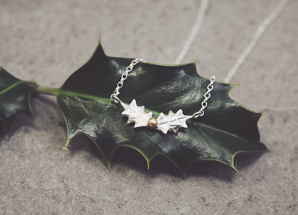 Holly Leaf Necklace with a Rose Gold Berry