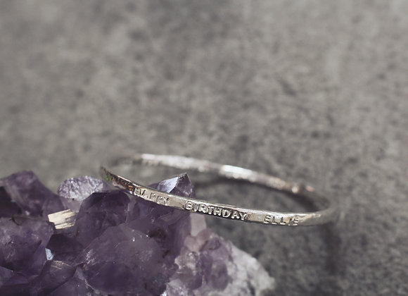 Hammered Bangle with Text