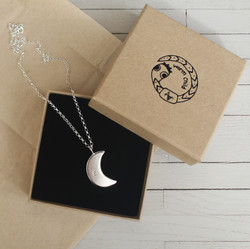 Moon Necklace with an Initial