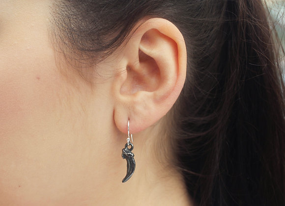 Fox Claw Drop Earrings (Oxidised Silver)