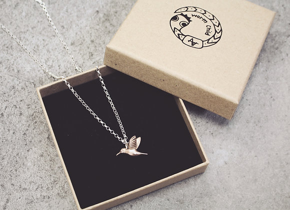 9ct Rose Gold Hummingbird on a Silver Chain