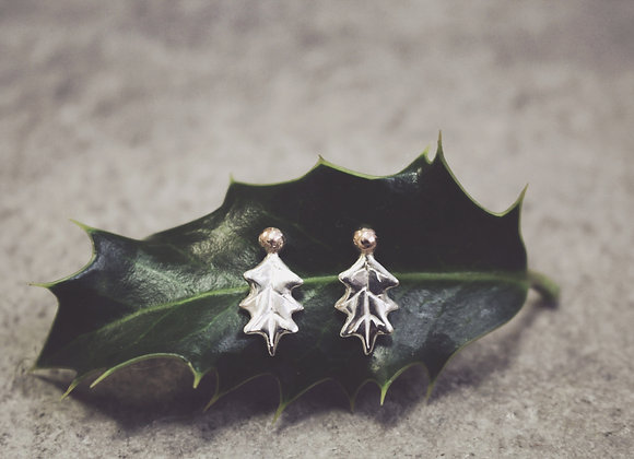 Holly Leaf Earrings with Rose Gold Berries