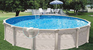 Photo of an above ground pool in a backyard