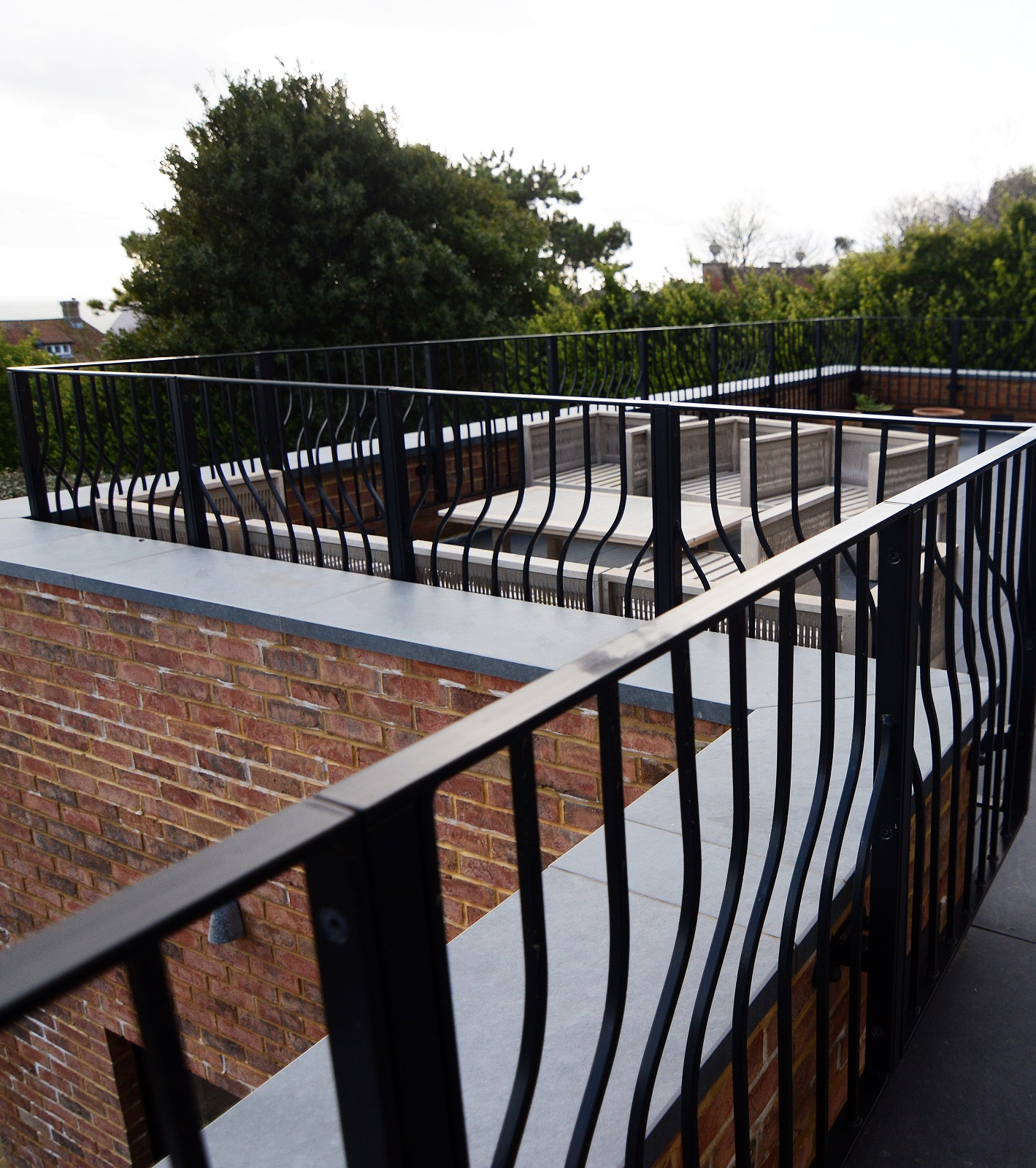 Railings blend contemporary with traditional