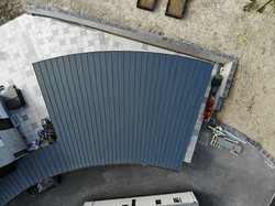 Garage roof showing curve from above
