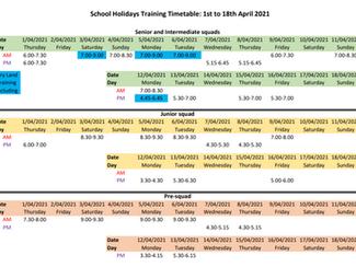 April School Holidays Timetable