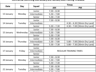 Changed Training Times in January & February