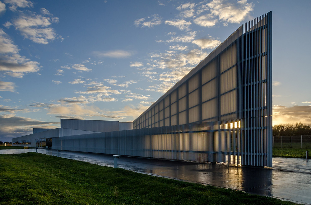 The angular facade of the NDA archive as it catches the light from a golden sunset